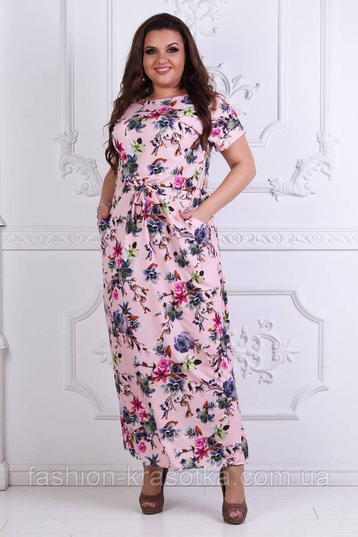 Нарядное летнее платье в пол в размерах 50-58