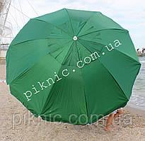Зонт пляжный, садовый Зеленый 2,2 м (Клапан + Серебро). Зонтик для пляжа, от солнца