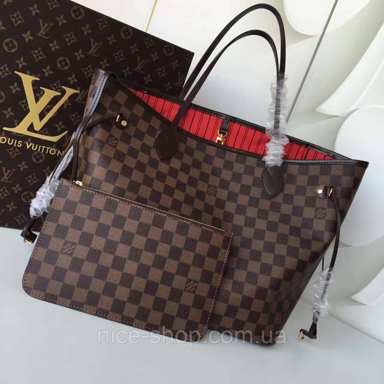 f6fed1abf1f6 Сумка Louis Vuitton Neverfull Medium кожа, коричневая шахматка ...