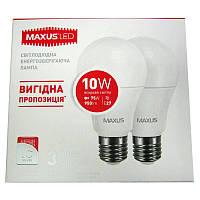 Лампочка  светодиодная Maxus led 2-LED-562-01  A60  10W  E27  4100K(по 2шт)