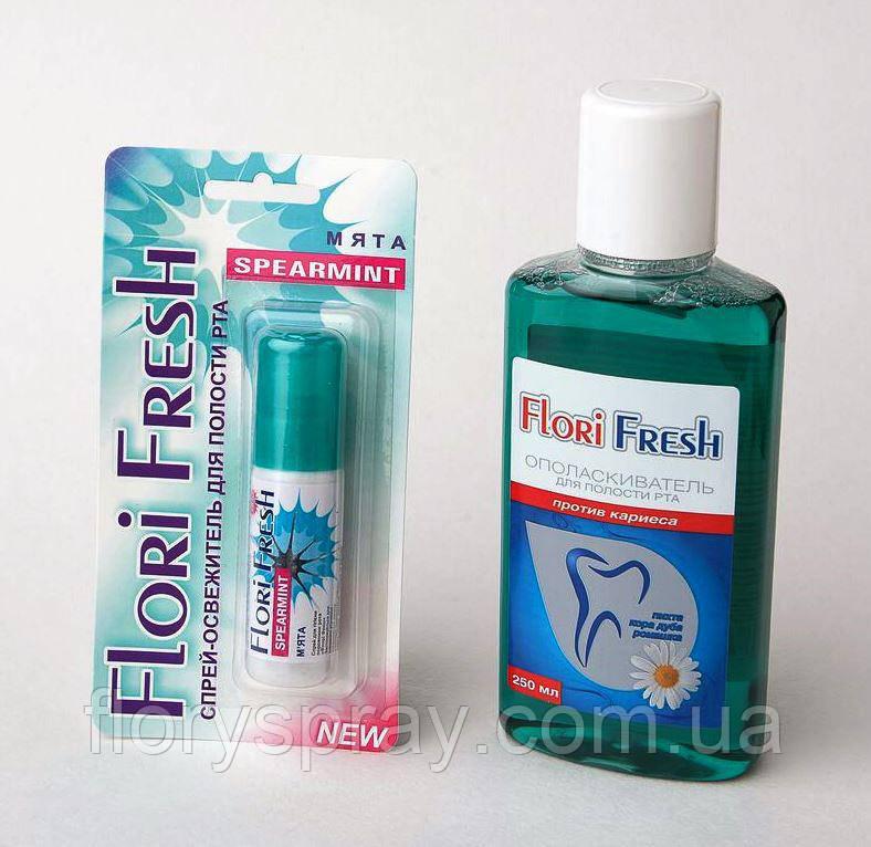 """Ополаскиватель для зубов  """"FLORY FRESH""""» «Против  кариеса» 250мл."""