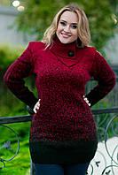 """Элегантный женский вязанный свитер-туника в больших размерах """"Мрамор"""" в расцветках, фото 1"""