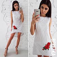 Хлопковое асимметричное платье с вышивкой 66031493