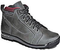 """Зимние мужские ботинки """"Max Mayar"""". Натуральный мех(Цигейка). Кожаные. Серые"""