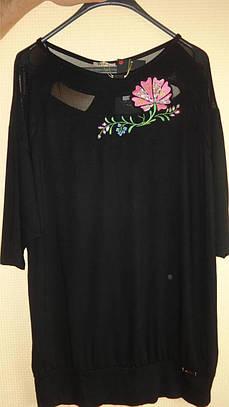 Туника - блуза с Розой  50-62рр, пр- во Турция, большие размеры, черный