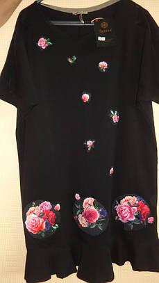 Туника - Розы, 52-62рр, пр- во Турция, большие размеры, черный