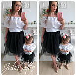 Одежда мама и дочка верх с открытыми плечами и воланом и фатиновая юбка 282104, фото 2
