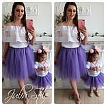 Одежда мама и дочка верх с открытыми плечами и воланом и фатиновая юбка 282104, фото 6