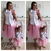 Одежда мама и дочка с фатиновой юбкой и белым верхом 282105