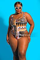 Женский купальник слитный больших размеров с абстрактным принтом