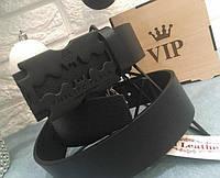 Ремень кожаный Philipp Plein черный с черной матовой пряжкой