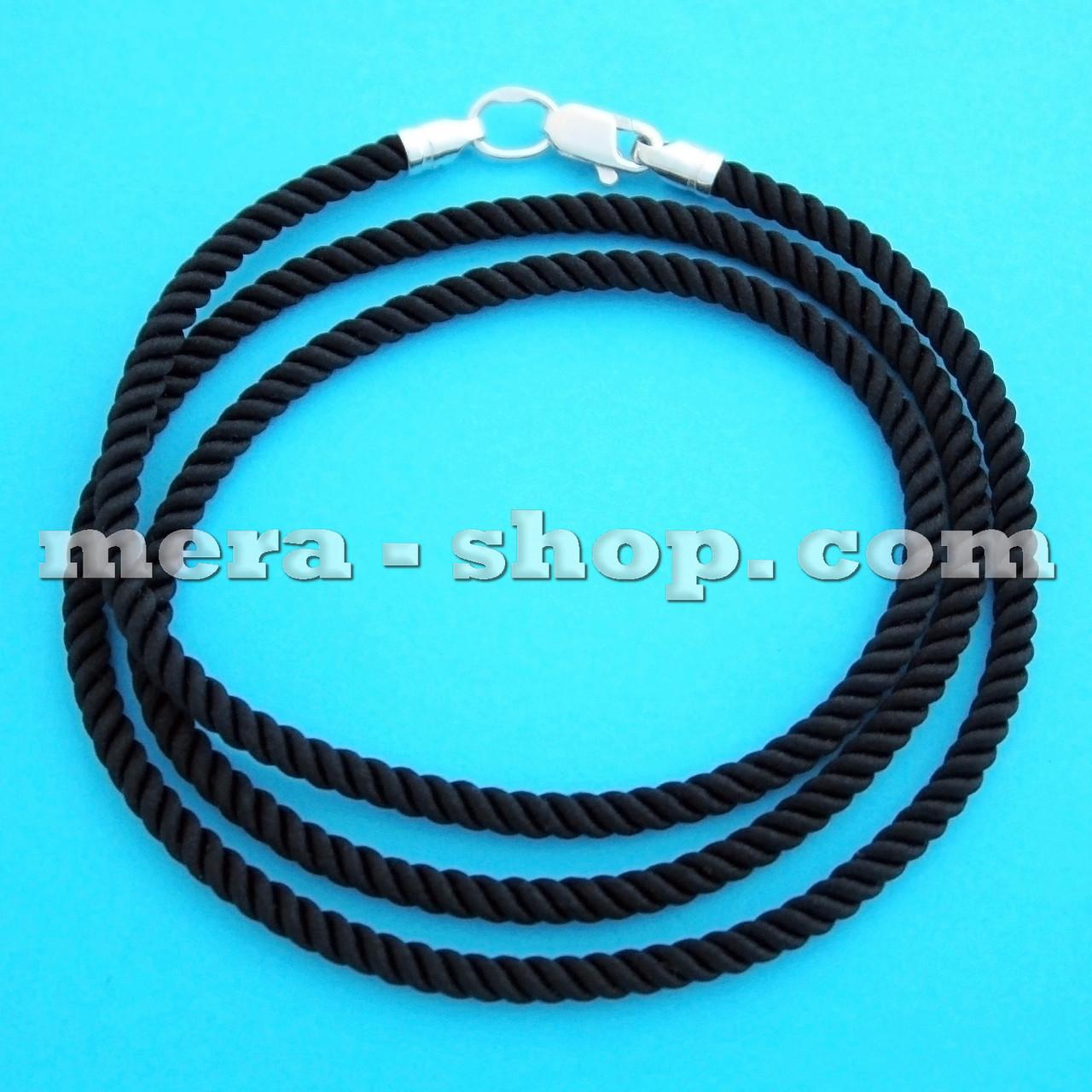 Шёлковый шнурок чёрный (⌀3,0 мм) серебряный замок