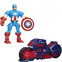 Разборная фигурка Капитан Америка с мотоциклом - Captain America, Marvel, Mashers, Hasbro, фото 1
