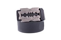 Ремень кожаный Philipp Plein черный с бронзовой матовой пряжкой
