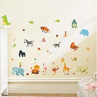 Наклейка виниловая Веселый зоопарк 3D декор, фото 1