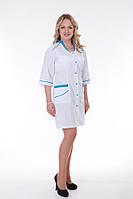 Медицинский  белый халат с голубой вставкой