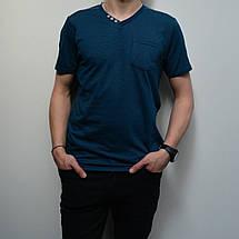 Мужская футболка, размеры: 46-56, 100% хлопок, в классическом стиле, V-образный вырез - лазурно-синий цвет, фото 2