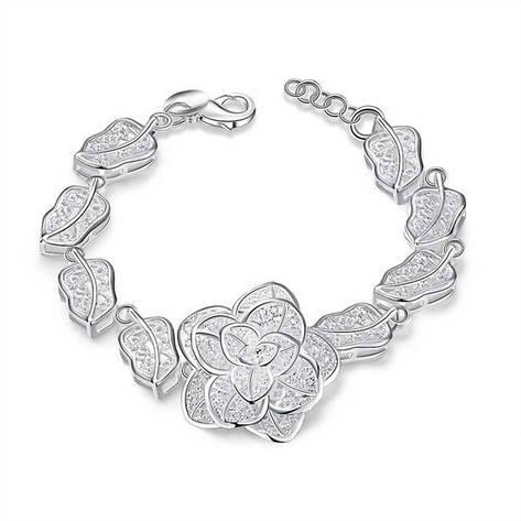 """Элегантный женский браслет """"Шикарная роза"""" покрытие серебро, фото 2"""