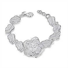 """Элегантный женский браслет """"Шикарная роза"""" покрытие серебро"""