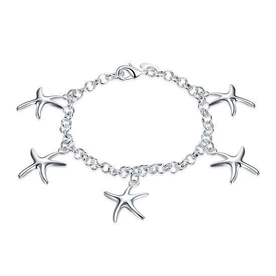 Утонченный женский браслет цепочка на руку Морские звезды покрытие серебро