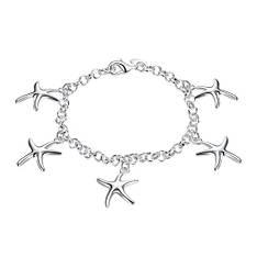 """Утонченный женский браслет на руку """"Морские звезды"""" покрытие серебро"""