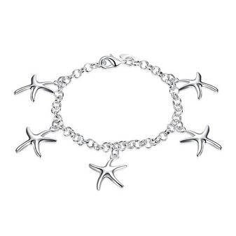 Утонченный женский браслет цепочка на руку Морские звезды покрытие серебро, фото 2