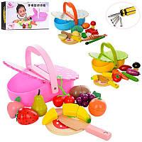 Игровой набор деревянные продукты, фрукты или овощи на магнитах, корзинка для пикника, досточка, нож, MD 1161