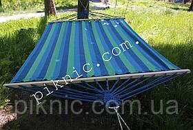 Семейный подвесной гамак на перекладине 200*150см. Тканевый х/б гамак выдержит 180 кг. Для дома, дачи, сада №2, фото 2