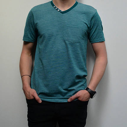 Мужская футболка, размеры: 46-56, 100% хлопок, в классическом стиле, V-образный вырез - тёмно-бирюзовая, фото 2