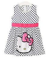"""Летнее платье для девочки """"Hello Kitty"""" в милые горошки, фото 1"""