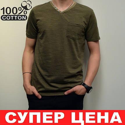 Мужская футболка, размеры: 46-56, 100% хлопок, в классическом стиле, V-образный вырез - оливковая, фото 2