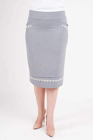 "Женская юбка ""Альбина"" за колено декорирована кружевом, фото 2"