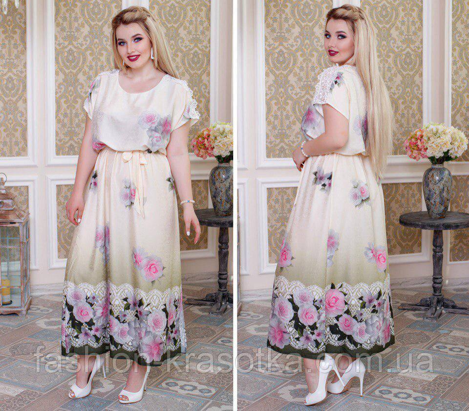 Стильное платье свободного покроя в размерах 52-58