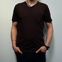 Чоловіча футболка, розміри: 46-56, 100% бавовна, класичний стиль, V-подібний виріз - коричнева, фото 2