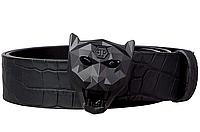 Ремень кожаный Philipp Plein с черный пряжкой пантерой