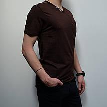 Чоловіча футболка, розміри: 46-56, 100% бавовна, класичний стиль, V-подібний виріз - коричнева, фото 3