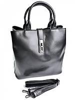 Кожаная женская сумка с застежкой хлястиком F-222 черная, фото 1