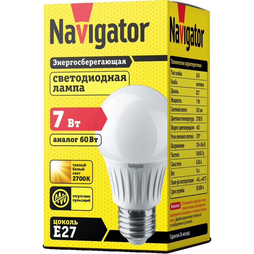 Лампа Navigator 94385 NLL-A60-7W 230V 2700K E27