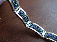Браслет серебряный с золотыми пластинами и кристаллами Сваровски, фото 1