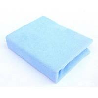 Махровий наматрацник на резинці, двоспальний Євро блакитного кольору