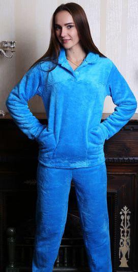Стильная махровая женская пижама на пуговицах оптом и в разницу, фото 1