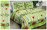 Качественное постельное белье в каллы на зеленом фоне евро