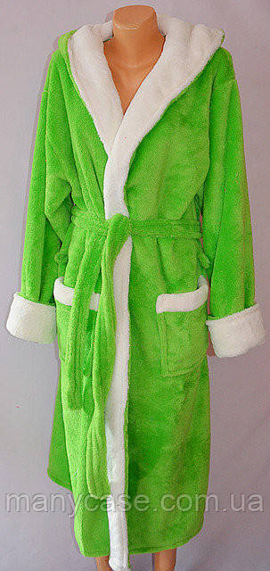 Домашний махровый халат с белой вставкой на запах, хит сезона, фото 1