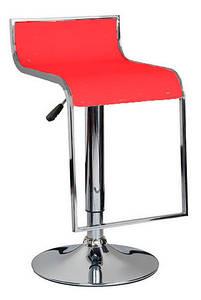 Стул барный Огус, пластиковое сиденье, хромированный, цвет красный