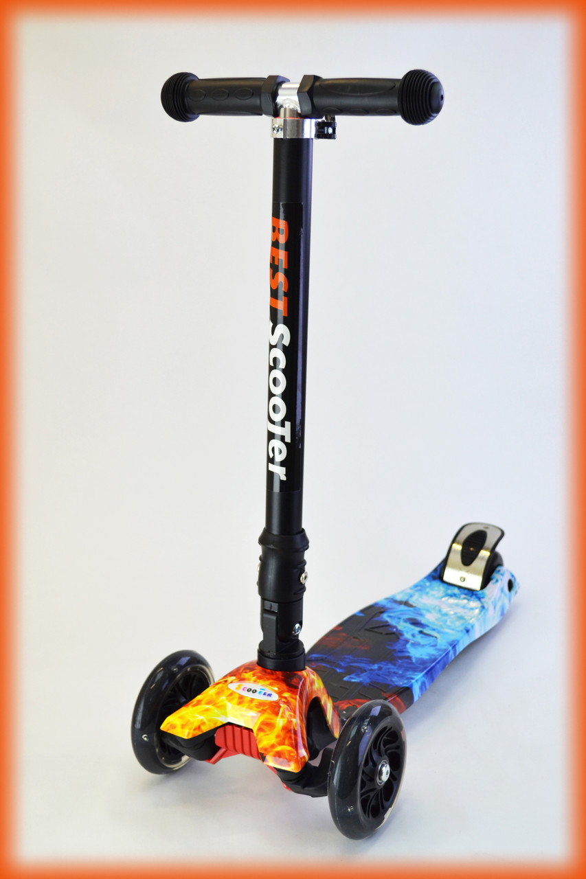 Самокат детский трехколесный Best scooter со светящимися колесами MAXI-PRINT Складывающиеся ручка Огонь и лед