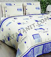 Постельное белье белое с синим 100 % хлопок евро