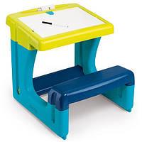Парта двухсторонний мольберт с доской для рисования голубая Smoby 420101