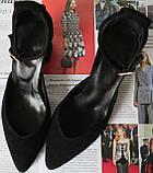 Комфортные туфли Limoda из натуральной замши босоножки на каблуке 6 см черные, фото 3
