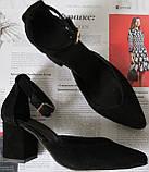 Комфортные туфли Limoda из натуральной замши босоножки на каблуке 6 см черные, фото 2