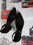 Комфортные туфли Limoda из натуральной замши босоножки на каблуке 6 см черные, фото 5